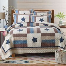 Cotton Star Queen/King Size BedSpread Set Patchwork Quilted Coverlet Blanket Rug