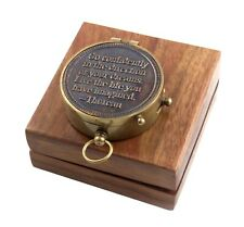 Thoreau Quote Engrave Compass Brass Navigation Pocket Marine Outdoor Camping