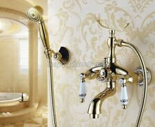 Gold Brass Wall Mounted Clawfoot Shower/ Tub Mixer Faucet Dual Handles ytf406