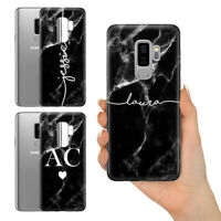 PERSONALISED BLACK MARBLE WHITE INITIALS NAME CUSTOM HARD CASE FOR SAMSUNG A7 J7