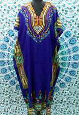 African Print Women's Pretty Kaftan, Boho Hippy V-Neck Maxi Caftan, Free Size