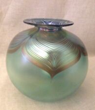 """ABELMAN Art Glass Round Vase SIGNED Art Glass 6"""" Iridescent Pulled Feather 1987"""