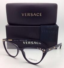 New VERSACE Eyeglasses VE 3191 GB1 52-16 140 Black Cat-Eye Frame w/Demo w/ Studs