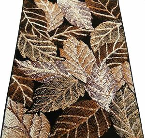 5'2 x 7'0 Area Rug Modern Abstract Leaves Design Carpet Brown, Green, Black
