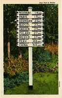 Vintage Postcard - Antique Handmade White Sign Post Maine ME Un-Posted #1852