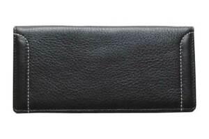 Big Unisex Bi-Fold Black Genuine Leather Wallet ID Credit Card Holder TOSCANA