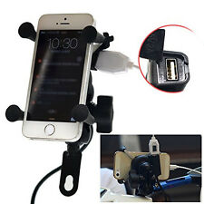 Universal X-Grip Motorcycle Bike Car Mount Cellphone GPS Holder W/ USB Charger