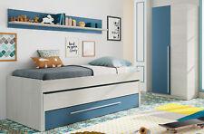 Pack dormitorio juvenil azul y blanco cama nido estante y armario CON SOMIERES