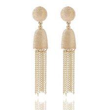 Luxurious Long Hanging Metallic Dangle Tassel Drop Earrings in Bright Gold