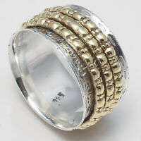 Solid 925 Sterling Silver Spinner Ring Meditation Ring Statement Ring Size KK02