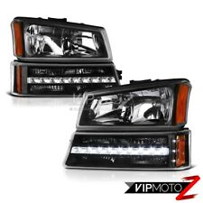 2003-2006 Chevy Silverado Avalanche 1500 2500 3500 Black LED Signal Head Lights