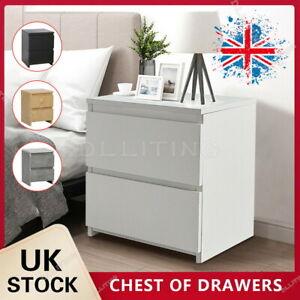 2 Drawers Wooden Bedside Table Cabinet Bedroom Furniture Storage Nightstand UK