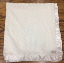 Cocalo White Plush Minky Dot with White Satin Edge & Backing Baby Blanket Lovey
