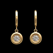 0.72Ct Created Diamond Round Bezel Earrings 14k Yellow Gold Milgrain Drop Dangle