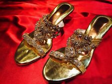 8 Size Ladies Indian Bollywood Bridal Shoes Heels Slip Ons Sandals Gold S14