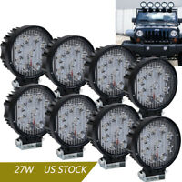 8X Round 27W LED Work Light Flood Beam Offroad Lamp 4X4 tractor Boat Truck ATV