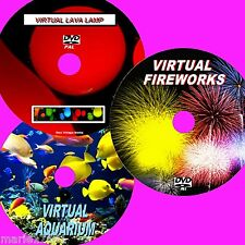 VIRTUAL FISH TANK, FIREWORKS & LAVA LAMP 3 VIBRANT DVD VIDEOS FOR PLASMA LED NEW