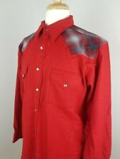 PENDLETON Red Pearl Snap Yoke Wool Flannel Shirt, Western USA Size Large (flaw)