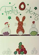 "Grußkarte ""Frohe Ostern"" 12x17cm Hase Huhn Osterei hochwertige Doppelkarte"