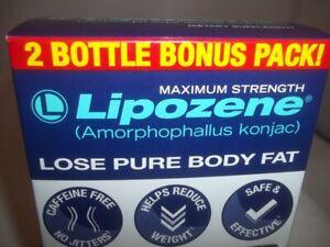 LIPOZENE MAXIMUM STRENGTH 60 MG 2 BOTTLES BONUS PACK WEIGHT LOSS PILLS NEW STOCK