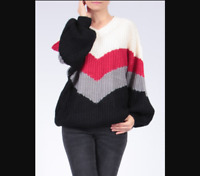 1980s Y2K Balloon Sleeve Oversized Chunky Colour Block Jumper Size 12 14 16