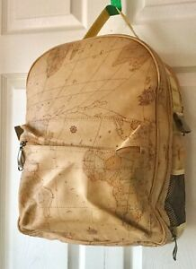 PICNIC TIME World Map Pebbled Leather Insulated Picnic Backpack Set of 4