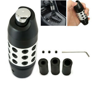 CNC Universal Automatic Car Gear Stick Shift Knob Shifter Lever Cover w/Button