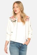 NWT JOHNNY WAS PARNAZ Embroidered Lined 100% SILK BOMBER JACKET ECRU Sz S