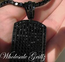 NEW!! $199 Mens 14k BLACK Gold GP Simulated BLACK Diamond DOGTAG Hip Hop Pendant