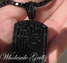 NEW!! $199 Mens 14k BLACK Gold GP Simulated BLACK Diamond DOGTAG Hip Hop Pendant