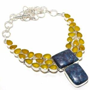 "Chrysocolla, Yellow Onyx Gemstone Silver Jewelry Necklace 18"" MQR-1897"