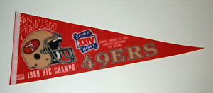 1989 San Francisco 49ers NFC Champs pennant Super Bowl XXIV Joe Montana SB 24