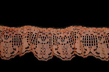 """2 Yds 2"""" Wide Pretty Peach Cotton Floral Lace Sewing Hobby Craft"""