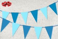 Pastel Light Blue Dark Blue Coloured Bunting Banner 15 Flags 12ft by PARTY DECOR