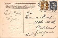 SWITZERLAND SCOTT #146 & 147 STAMPS NEW YEAR HOLIDAY TO USA POSTCARD 1909 **