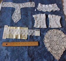 6 Vintage Victorian Mostly Handmade Irish Crochet~Cuff~Inserts~Dolls, Clothing