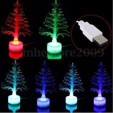 Mini USB Color Changing Fiber Optical LED Light Christmas Xmas Tree Lamp Decor