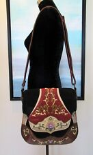 OOVOO Le Thi Hong Tu Hand Embroidered Silk & Leather Asian Shoulder Bag