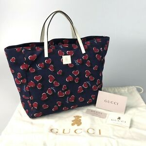100%authentic GUCCI canvas Kids line Heart Tote Bag 284721 Navy used 1891-10dO93