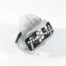 Brand New Black and Gray/Grey Hair Clip Claw w/Clear AB Flower Pattern Crystals