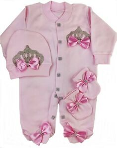 Preterm Baby Clothes gift Set 3 piece Bow Romper Set Pink On Pink