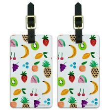 Tiny Fruits Bananas Cherries Grapes Kiw Luggage ID Tags Cards Set of 2