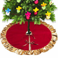 90cm Red Christmas Tree Skirt Ruffle Golden Edge Xmas Ornaments Party Decoration