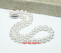 "AAAAA 18""10-11mm round REAL natural south sea white pearl necklace 14K GOLD"