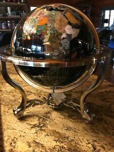 "Unique 21"" Gemstone World Globe for desktop on Silver/Stainless Look Tripod Base"