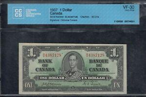 1937 Bank of Canada $1 Osborne Signature - BC-21a - CCCS Very Fine 35