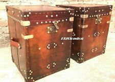 Vintage Pair of Finest English Leather Antique Inspired Side Table Trunks trunk