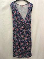 Joe Browns ladies dress floral blue faux wrap viscose size 18 03