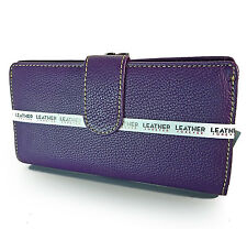 New Mundi® Genuine Leather Bi-Fold w/ Kiss-lock Coin Compartment -Purple