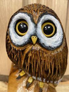 OWL Chainsaw Carving WHITE CEDAR WOOD Bird Sculptures ORIGINAL Owl Folk Art